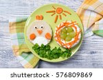 funny toast in a shape of chick ...   Shutterstock . vector #576809869