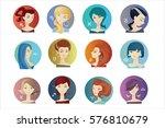 set of zodiac signs. vector... | Shutterstock .eps vector #576810679
