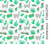 seamless pattern with alpaca  ... | Shutterstock .eps vector #576812953