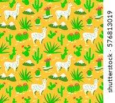 seamless pattern with alpaca  ... | Shutterstock .eps vector #576813019