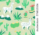 seamless pattern with alpaca  ... | Shutterstock .eps vector #576813106