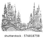 city illustration with a lots... | Shutterstock .eps vector #576818758