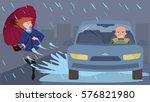 car splashes pedestrian ... | Shutterstock .eps vector #576821980