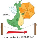 cartoon dragon goes across the... | Shutterstock .eps vector #576842740
