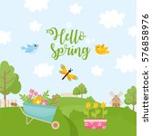 hello spring greeting card.... | Shutterstock .eps vector #576858976