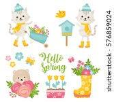 hello spring greeting card.... | Shutterstock .eps vector #576859024