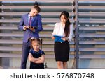 in  foreground stands and... | Shutterstock . vector #576870748