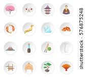 japan icons set. cartoon... | Shutterstock . vector #576875248
