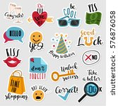 set of stickers with text and... | Shutterstock .eps vector #576876058