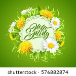 inscription hello spring hand... | Shutterstock .eps vector #576882874