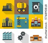 oil icons set. flat... | Shutterstock . vector #576890818