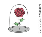 Rose in a flask of glass. on the white background for your design. Vector illustration. | Shutterstock vector #576893224