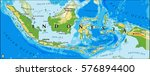 indonesia physical vector map | Shutterstock .eps vector #576894400