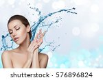 beautiful model spa woman with... | Shutterstock . vector #576896824