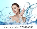 beautiful model spa woman with... | Shutterstock . vector #576896836