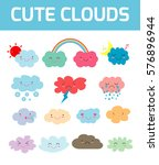 lovely cute clouds icons  set...   Shutterstock .eps vector #576896944