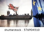 flags of uk and eu combined... | Shutterstock . vector #576904510