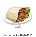 falafel food meatball salad... | Shutterstock .eps vector #576949513