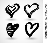 set of grunge hearts. vector... | Shutterstock .eps vector #576952090