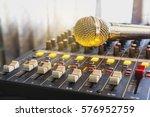 closeup audio mixer slider in... | Shutterstock . vector #576952759