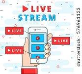 live stream flat line vector... | Shutterstock .eps vector #576961123