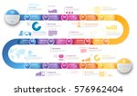 Colorful template business concept timeline arrows. Infographics layout with 15 steps, workflow history with diagram,presentation and graph | Shutterstock vector #576962404