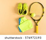 tennis stuff on cream... | Shutterstock . vector #576972193