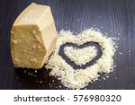 pieces of parmesan cheese on... | Shutterstock . vector #576980320