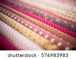 stack of fabric red pink cloth... | Shutterstock . vector #576983983