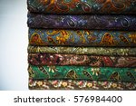 stack of fabric paisley cloth... | Shutterstock . vector #576984400