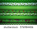 stack of fabric green cloth... | Shutterstock . vector #576984406