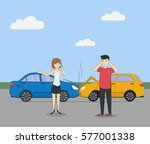 head on collision. car accident.... | Shutterstock . vector #577001338