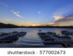 boats at arrowhead lake harbor... | Shutterstock . vector #577002673