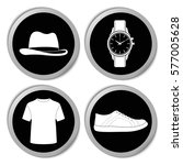 man's clothes and accessories... | Shutterstock .eps vector #577005628