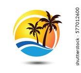 summer holidays design labels ... | Shutterstock .eps vector #577012600