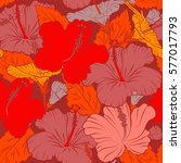 bright hawaiian seamless... | Shutterstock .eps vector #577017793