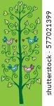 doodle tree with birds in love.    Shutterstock .eps vector #577021399