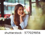 portrait of asian woman smiling ... | Shutterstock . vector #577029856
