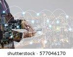 double exposure businessman... | Shutterstock . vector #577046170