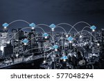 cloud networking concept with... | Shutterstock . vector #577048294