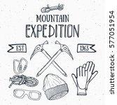 mountain expedition vintage set.... | Shutterstock .eps vector #577051954