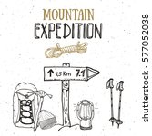 mountain expedition vintage set.... | Shutterstock .eps vector #577052038