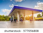 Gas Station With Clouds Sky An...