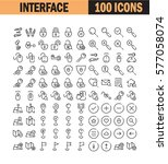 thin line icon set. collection... | Shutterstock .eps vector #577058074