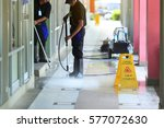 man cleaning the ground floor  | Shutterstock . vector #577072630
