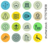 set of 16 traveling icons.... | Shutterstock .eps vector #577075858