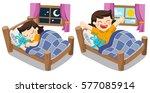 a little girl sleeping on... | Shutterstock .eps vector #577085914