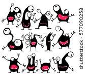 set of twelve cute black... | Shutterstock .eps vector #577090258