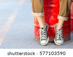close up black sneakers old.... | Shutterstock . vector #577103590