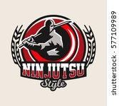 colorful logo  emblem  a ninja... | Shutterstock .eps vector #577109989